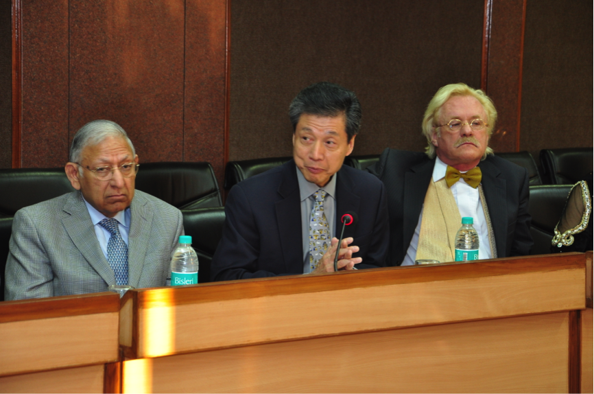 Dr. Gorter, Dr. Durga Prasad and the President of the MD Andersen Cancer Center during the visit to the Delhi Secretariat