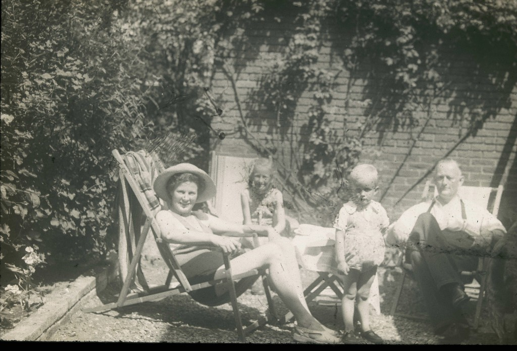 Robert Gorter at age 2 at home in Heemstede, the Netherlands, with his mother (l) and sister Ellen (second from l) and his father (r)