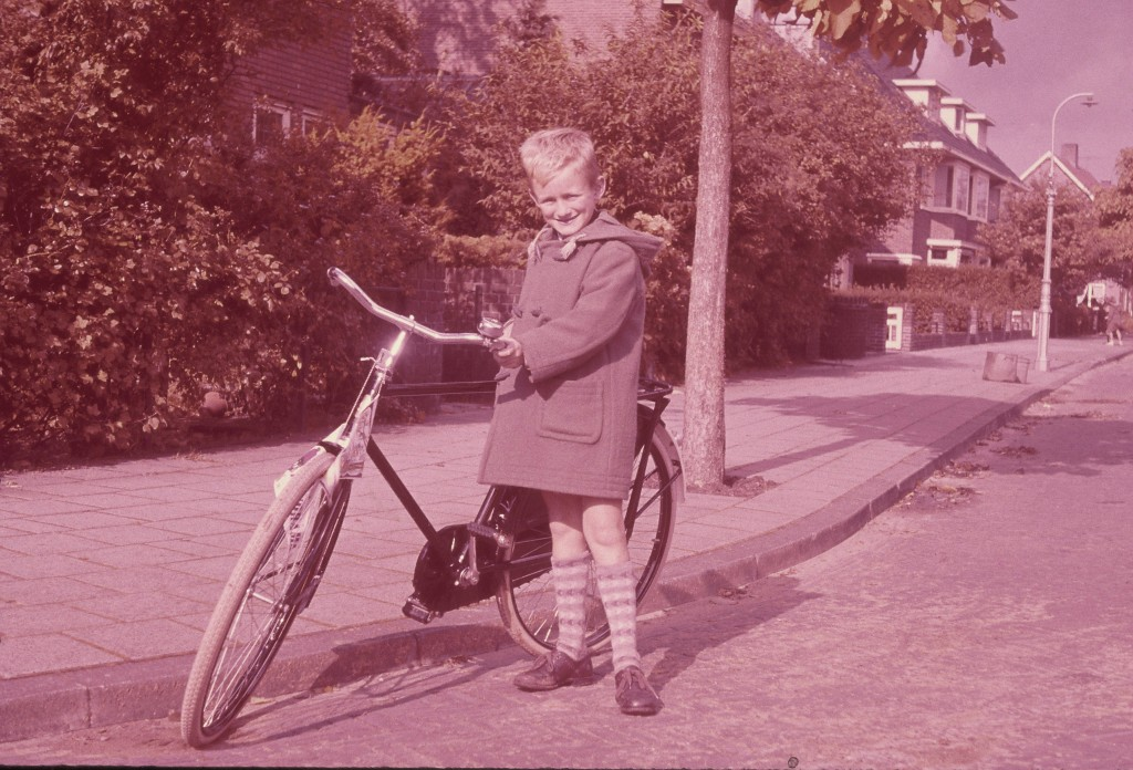 Robert Gorter at his eighth birthday with his new bicycle