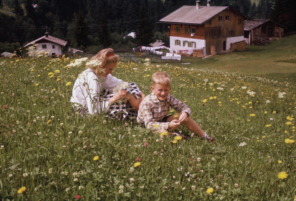 Robert and his sister Ellen in a meadow high up in the Alps