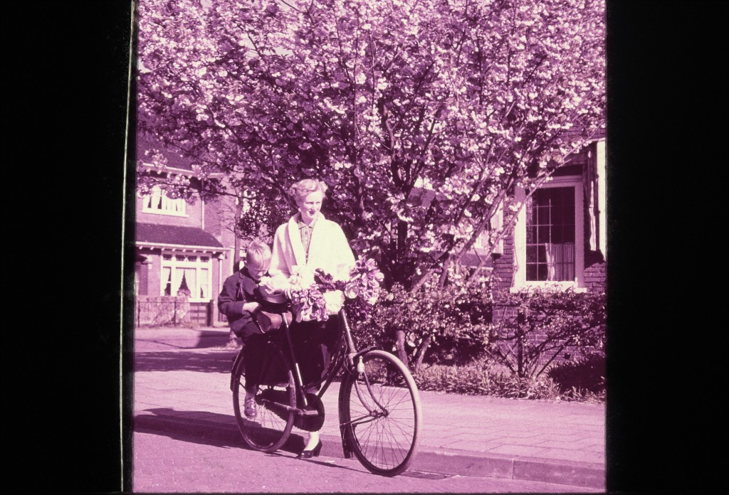 Robert Gorter with his mother returning from a bicycle tour to the tulip fields which were starting 5 km away.