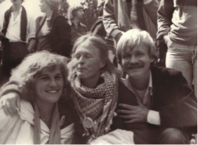 Robert Gorter with two nurses from the Jellinek Kliniek at a CSD parade in the Vondelpark and when HUK was closed and he worked for the Jellinek Klkiniek