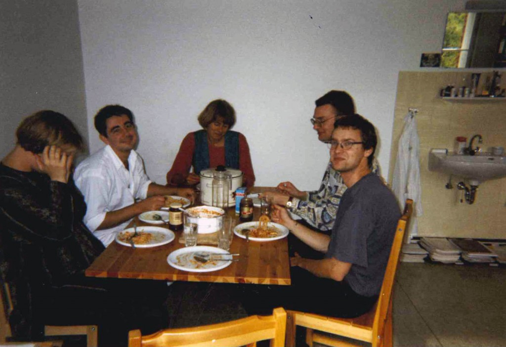In one of the rooms in the old building of Krankenhaus Moabit. This picture was taken during lunch with the team members present that day: (l) unknown research fellow; 2nd (l) Matthias Stoss, MD; (m) Madelon van Wely, biostatistician;  2nd (r) Martin Schnelle, research fellow; (r) unknown research fellow or medical student.