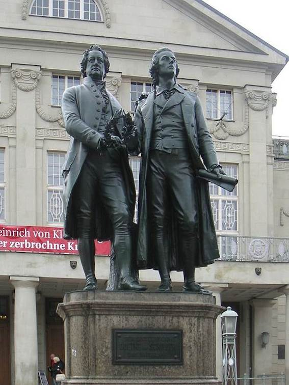 Johann Wolfgang Goethe (1749-1832) and Friedrich Schiller (1759-1805) met several times face-to-face and maintained a vivid correspondence and friendship.