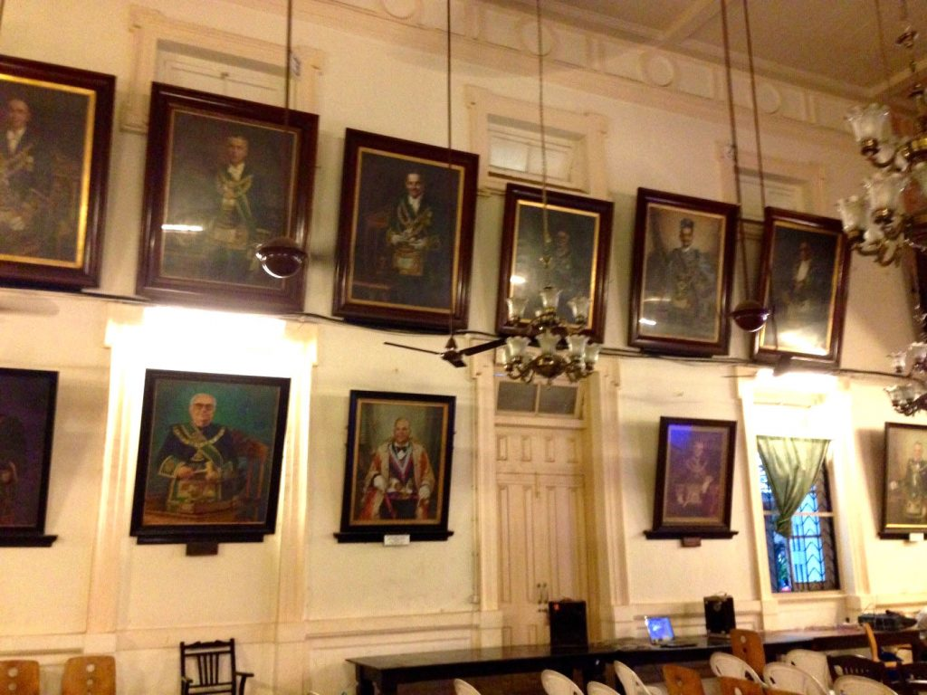 General assembly hall inside the Masonic Building in Mumbai where the lecture was held. On the walls oil portraits of previous Grand Masters of West India / Mumbai